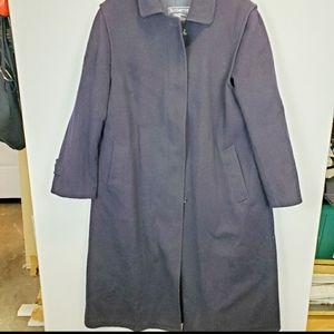 Vintage Burberry Men's Wool Coat Navy